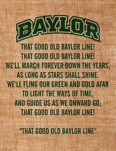 Baylor University burlap wall art That Good Old Baylor Line lyrics item is officially licensed by BU