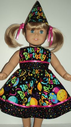 American Girl doll clothes  Birthday Dress and by susiestitchit, $16.00