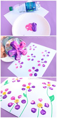 Make Bottle Print Button Flowers! Fun kids craft idea for Spring or Summer! What a gorgeous and quick flower craft! Daycare Crafts, Fun Crafts For Kids, Crafts To Do, Projects For Kids, Craft Projects, Arts And Crafts, Craft Ideas, Spring Crafts For Preschoolers, Toddler Summer Crafts