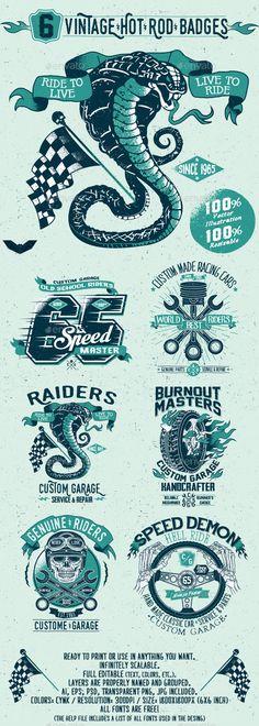 Buy 6 Vintage Hot Rod Badges by PaperBat on GraphicRiver. This pack contains 6 Vintage Hot Rod Badges vector illustrations highly detailed. Vintage Labels, Vintage Posters, Badge Design, Logo Design, Motorcycle Logo, Garage Art, Badge Logo, Bike Art, Grafik Design