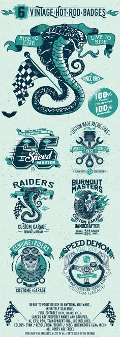 6 Vintage Hot Rod Badges #design #badges Download: http://graphicriver.net/item/6-vintage-hot-rod-badges/11531296?ref=ksioks