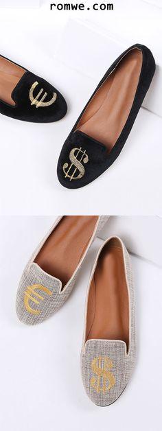 Dollar Embroidery Ballet Flats