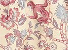 """FABRIC: Width: 54"""" Fabric Type: Med Wt Drapery/Light Wt Upholstery. Descript:Tropical jungle animal themed fabric by Covington featuring monkeys, squirrels, & butterflies. Colors: cranberry red, grape, powder blue, & seafoam green on buttery yellow background. Perfect for draperies, valances, duvets & comforters, dust ruffles, pillows, crafts, etc. Soft & durable body   Contents: 100% Cotton   Repeats: 26.5"""" Vertical x 54"""" Horizontal.  Per yard: $8.98…"""