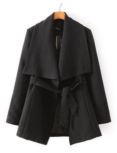 Causal Big Turn-down Collar Long Sleeves Belt Short Coat
