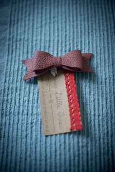 Dark Pink Leather Bow Hair Beret Clip by FourLittleTrees on Etsy, £5.00