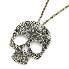 Punk Pattern Skull Long Necklace – USD $ 7.99 Skull Necklace, Men Necklace, Washer Necklace, Pendant Necklace, Punk, Crane, Silver Necklaces, Sterling Silver Jewelry, Gothic