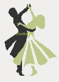 Cross Stitch Pattern  Dancing Couple 4  x  6.5 by Deelliiees, $4.50