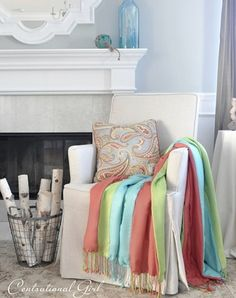"""Try this easy home decor sewing project: Striped Pashmina Throw, posted by Kate on """"Centsational Girl""""."""
