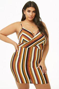 09568a8812229 Plus Size Striped Cami Mini Dress