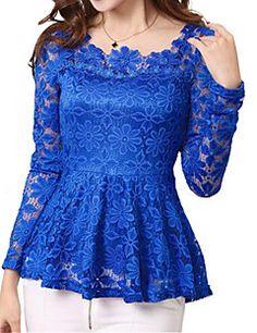 Women's+Lace+Plus+Sizes+Micro-elastic+Falbala+Hem+Long+Sleev...+–+USD+$+19.99