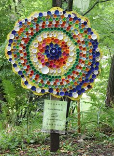 Garden art using bottlecaps - click for butterfly,caterpillar and more
