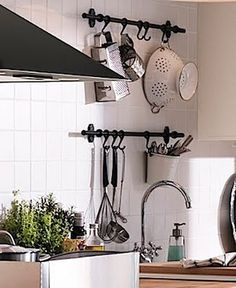DIY: Decorative Curtain Rod  Hooks for Kitchen Organization {by Why Wait For Life}