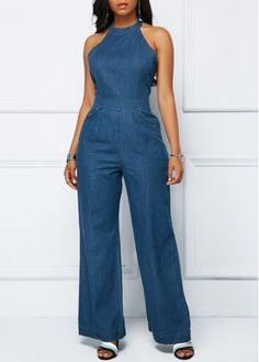 Cheap blue Jumpsuits & Rompers online for sale Blue Jumpsuits, Jumpsuits For Women, Fashion Jumpsuits, Trendy Dresses, Fashion Dresses, Denim Dresses, Jumpsuit Denim, Denim Romper, Salopette Jeans