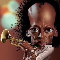 Caricatura de Miles Davis.