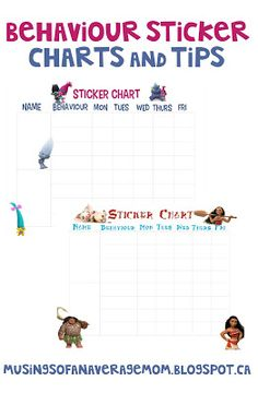 Free printable behavior sticker charts and tips