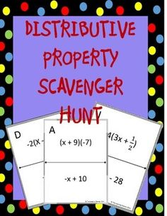 Distributive Property Scavenger Hunt: Students practice the distributive property! Instead of just sitting at their seats doing a worksheet, they can be up moving around the room! Math Teacher, Math Classroom, Teaching Math, Teacher Stuff, Algebraic Expressions, Math Expressions, Math Resources, Math Activities, Distributive Property