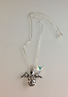"""24"""" length chain, Swarovski star, pewter with SS overlay Angel."""