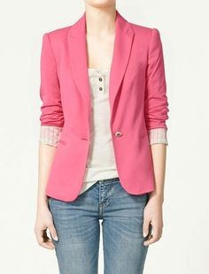 Rose Red Lapel Long Sleeve Striped Inside One Button Silm Blazer