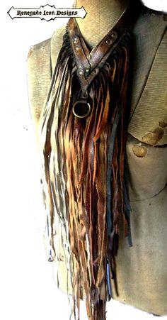 Extravagant leather fringe necklace fringe bib by Renegadeicon