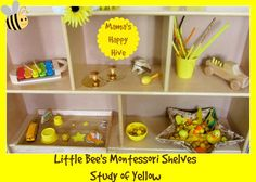 Montessori Shelves - The Study of Yellow - www.mamashappyhive.com