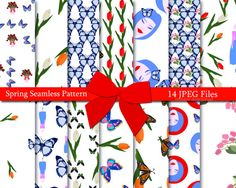 Spring Seamless Pattern, Spring Digital Paper Pack, Vector Seamless Pattern, Tulips Seamless Pattern, Planning Paper, Instant Download