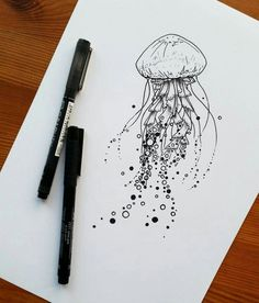 I really enjoyed drawing these sea creatures - I'm still so happy with this jellyfish! One of my highlights was definitely seeing someone get it tatt Jellyfish Drawing, Jellyfish Tattoo, Jellyfish Art, Jellyfish Decorations, Jellyfish Aquarium, Jellyfish Light, Sea Creatures Drawing, Creature Drawings, Animal Drawings