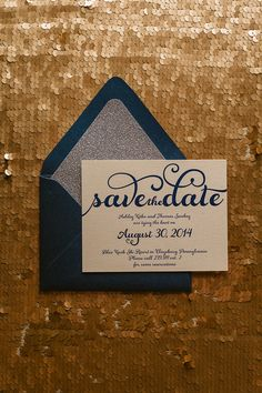 Fabulous handwritten Navy and Silver glitter Save the Dates by Just Invite Me