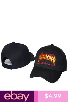 326503c5d77 Thrasher Hat Cap Fire Black Magazine Flames Adjustable Embroidered Logo New