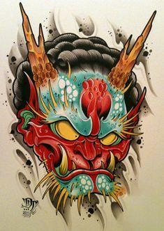David Tevenal at Memento Tattoo and Gallery in Columbus, Ohio. Backpiece Tattoo, Hanya Tattoo, Irezumi Tattoos, Japanese Tattoo Art, Japanese Tattoo Designs, Japanese Mask, Tattoo Sketches, Tattoo Drawings, Body Sketches