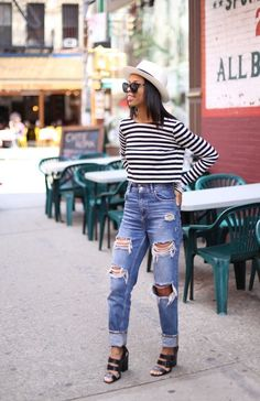 high-waisted boyfriends, summer outfit inspiration, black girl, plaid crop top, cropped top, ripped denim, fashion, street style