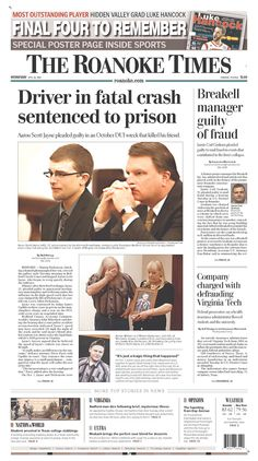 The Roanoke Times front page: April 10, 2013. Sign up for a digital subscription at roanoke.com/subscribe.