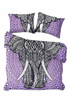 Purple Elephant Bohemain Doona Duvet Cover with Pillowcases Queen Size Cover Boho Bedding Set Blanke - Products - Handmade Duvet Covers, Queen Size Duvet, Mandala Duvet Cover, Purple Elephant, Boho Bedding, Duvet Sets, Quilt Cover, Pillowcases, Blanket