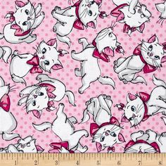Disney Aristocats Many Faces of Marie Pink from @fabricdotcom  Licensed by Disney to Springs Creative Products, this cotton print is perfect for quilting, apparel and home décor accents. Colors include white, grey and shades of pink. This is a licensed fabric and not for commercial use.