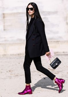All black + hot pink glittery ankle boots