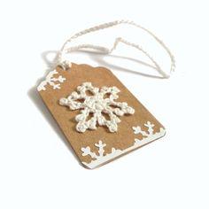 5  2.25x1.5 Hand Crocheted Snowflake on Kraft by CatalinaInspired