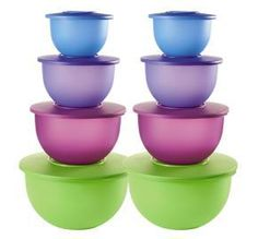 Buy 1 set, get 1 set FREE!  Tupperware® Ends 3/8 Impressions 4-Pc. Bowl Set  Save $59.50—$119.00 value    • Get two sets at this price.  • In Berry Bliss/Hyacinth/Lettuce Leaf/Purplicious.  • Dishwasher safe.  check out my website www.my2.tupperware.com/lorieswain