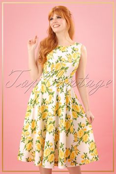 #topvintagebirthdaylook   TopVintage bestaat 10 jaar! 50s Sandra Floral Swing Dress in Yellow and White.
