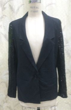 1980s #Ladies #Black and Sequin #Jacket/#Ladies Tux #Jacket,  View more on the LINK: http://www.zeppy.io/product/gb/3/261770479/
