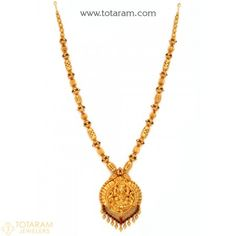 22K Gold 'Lakshmi' Long Necklace (Temple Jewellery) - 235-GN2058 - Buy this Latest Indian Gold Jewelry Design in 58.800 Grams for a low price of  $3,166.40
