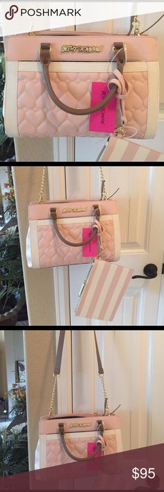 """🌺NEW! BETSEY JOHNSON BLUSH SATCHEL/CROSS BODY BAG BRAND NEW! AUTHENTIC BETSEY JOHNSON BLUSH SATCHEL/CROSS BODY BAG-Approximate Measurements-9 1/2"""" X 13"""" X 3 1/2"""", & Pouch Measurements are 6 1/2"""" X 9""""....NEVER USED! EXCELLENT NEW CONDITION! Betsey Johnson Bags Satchels"""