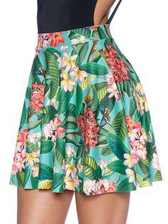 Frangipani Pocket Skater Skirt - 48HR (WW ONLY $65AUD) by Black Milk Clothing