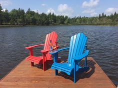 Perfect for summertime relaxing Adirondack Chairs, Outdoor Chairs, Outdoor Furniture, Outdoor Decor, Memories With Friends, Summertime, Relax, Boathouse, Trees
