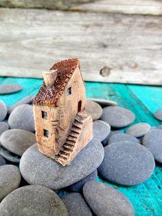 Miniature Tuscan farm house OOAK ceramic mini by theCherryHeart Clay Houses, Ceramic Houses, Miniature Houses, Little Houses, Small Houses, Pottery Houses, Italian Home, Wooden Blocks, Stoneware Clay