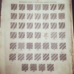 Patterns from old weaving book. Six shaft? Flax Weaving, Loom Weaving, Basket Weaving, Hand Weaving, Spool Knitting, Knitting Charts, Maori Designs, Handbag Patterns, Weaving Patterns