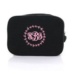 Black Monogrammed Waffle Weave Cosmetic Case