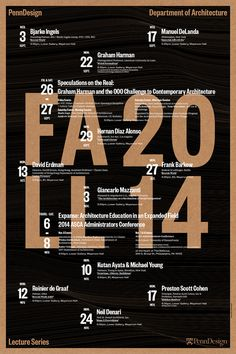 Get Lectured: PennDesign, Fall '14 | Lecture Poster, designed by us at WSDIA | WeShouldDoItAll | Archinect