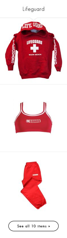 """""""Lifeguard"""" by laforeverr ❤ liked on Polyvore featuring tops, dolfin, activewear, activewear pants, red sweat pants, red sweatpants, sweat pants, outerwear, jackets and red jacket"""