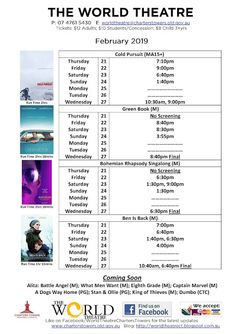 World Theatre Charters Towers: Cinema schedules + special events posters World Theatre, Who Book, Free Entry, Green Books, Find Us On Facebook, Movie Tickets, Documentary Film, Towers, Live Music