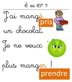é ou er ? une affiche pour distinguer infinitif et participe passé French Verbs, French Grammar, French Teacher, Teaching French, French Flashcards, French Expressions, French Classroom, French Language Learning, French Lessons