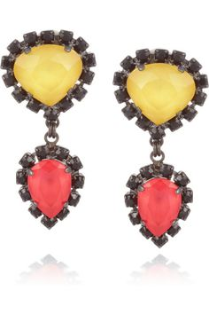 Erickson Beamon Gunmetal-plated Swarovski crystal clip earrings